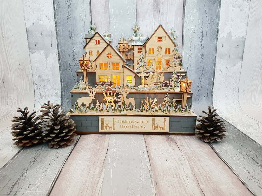 Light-up Wooden Christmas Town Diorama