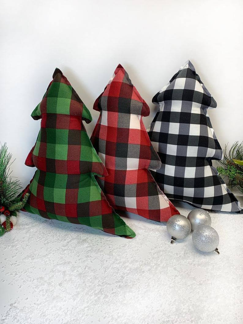 Red, Green or Black Plaid Miniature Christmas Tree Pillows