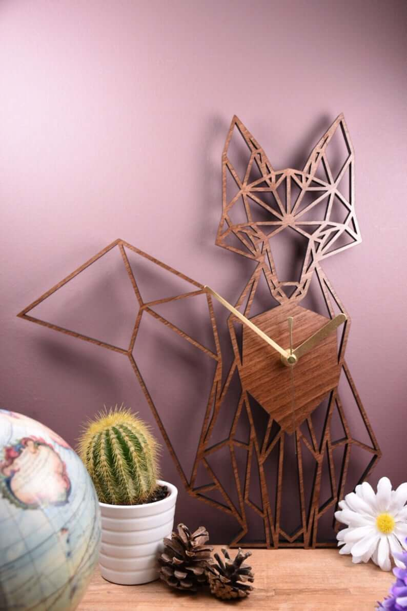 Whimsical and Geometrical Golden Fox Clock