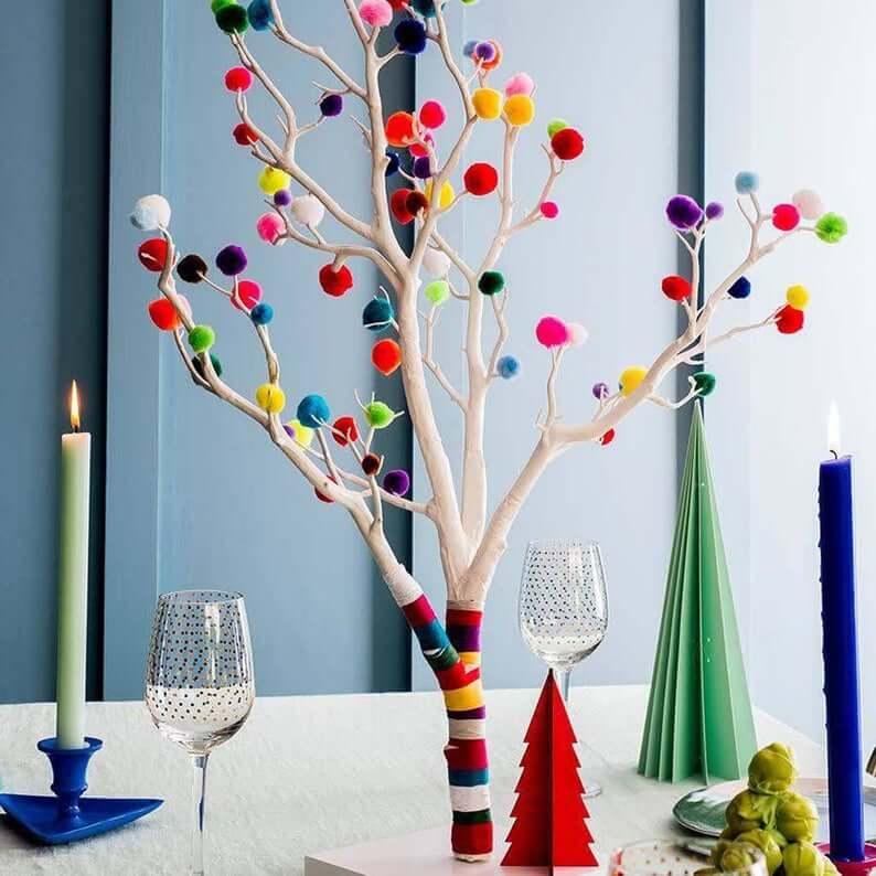 Pom Pom Christmas Tree Centerpiece