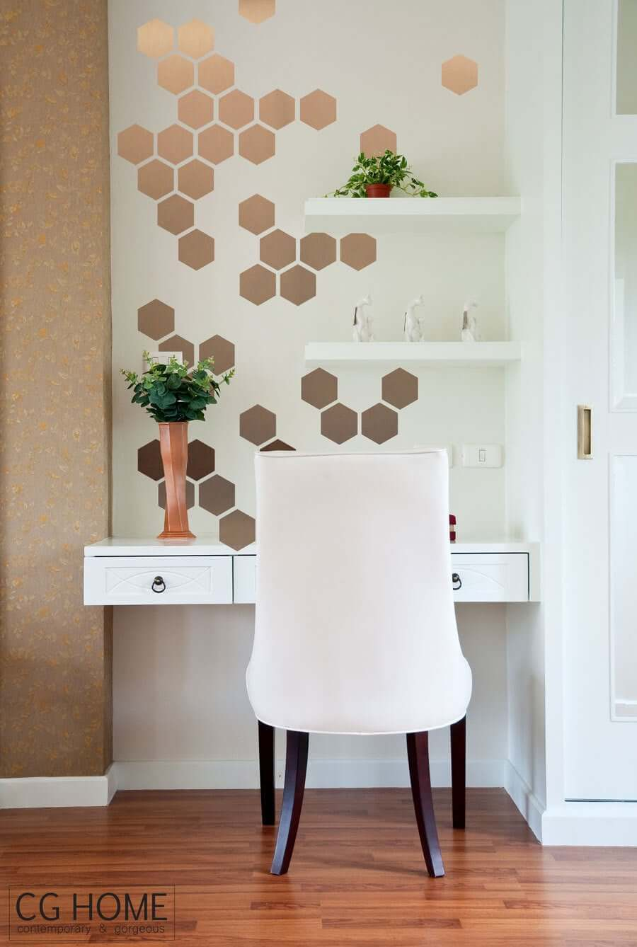 Golden Honeycomb Hexagon Wall Stickers