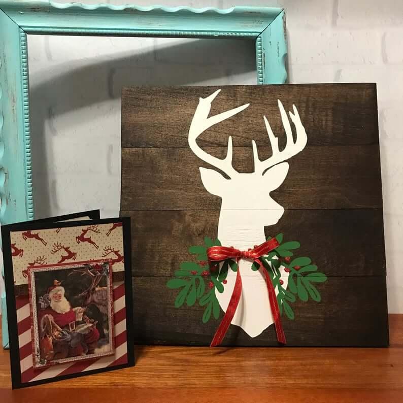 Rustic Painted Reindeer Wooden Christmas Decor