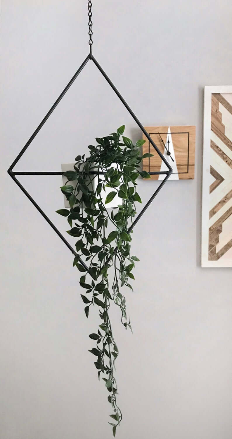Suspended Geometric Black Rhombus Plant Holder