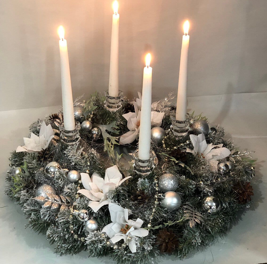 White Poinsettia Wreath Candle Holder