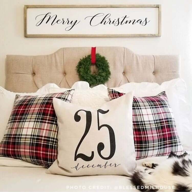Count Down with Plaid Christmas Pillow Trio