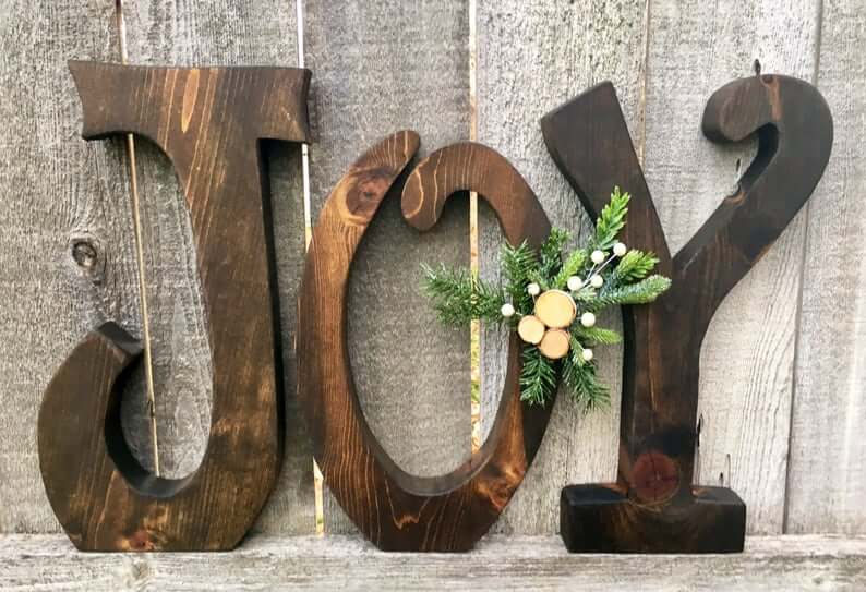 Oversized JOY Wooden Mantle Decor Letters