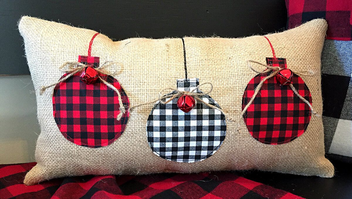 Burlap Embellished Plaid and Bells Round Ornament Pillow