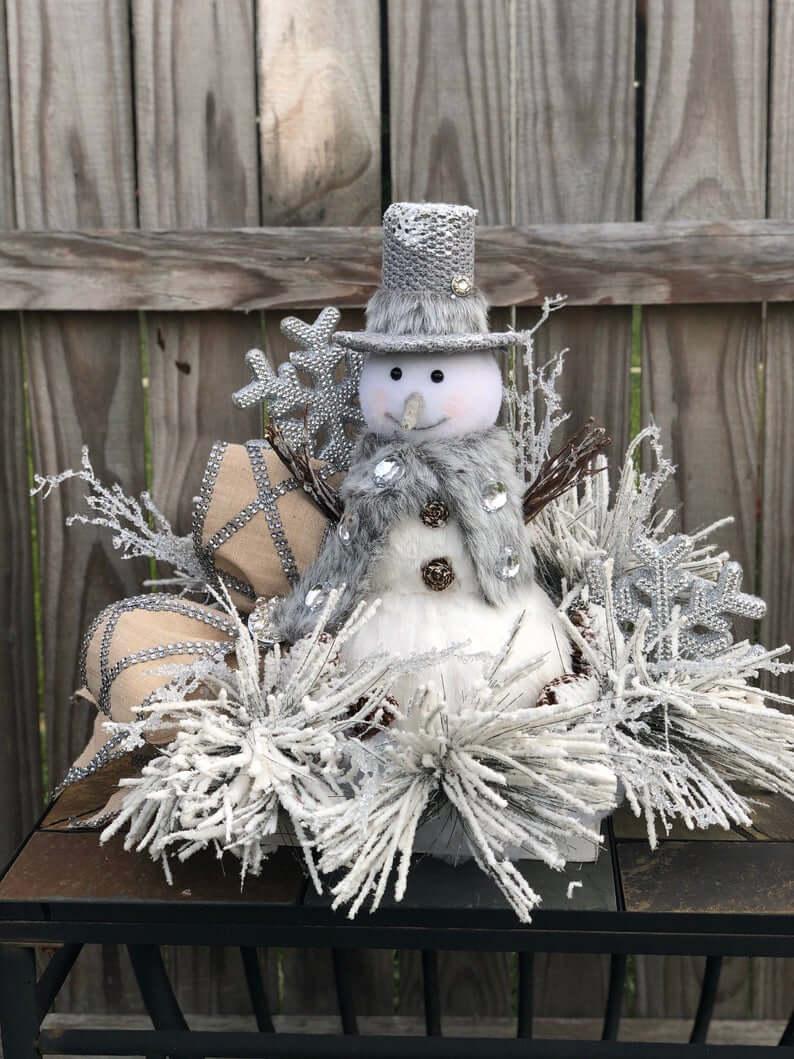 Frosted Snowman Wonderland Silver Wreath