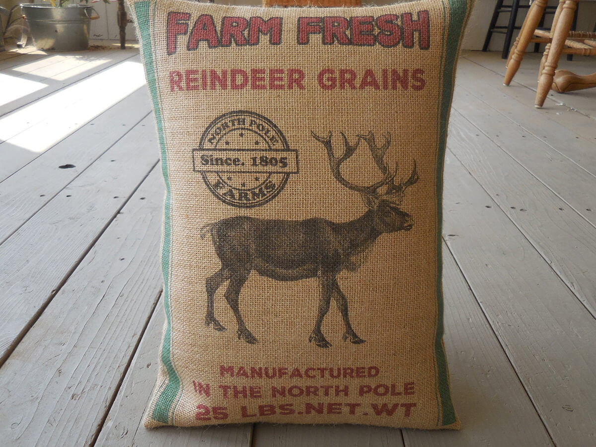 Burlap Feed Sack Reindeer Grains Christmas Pillow
