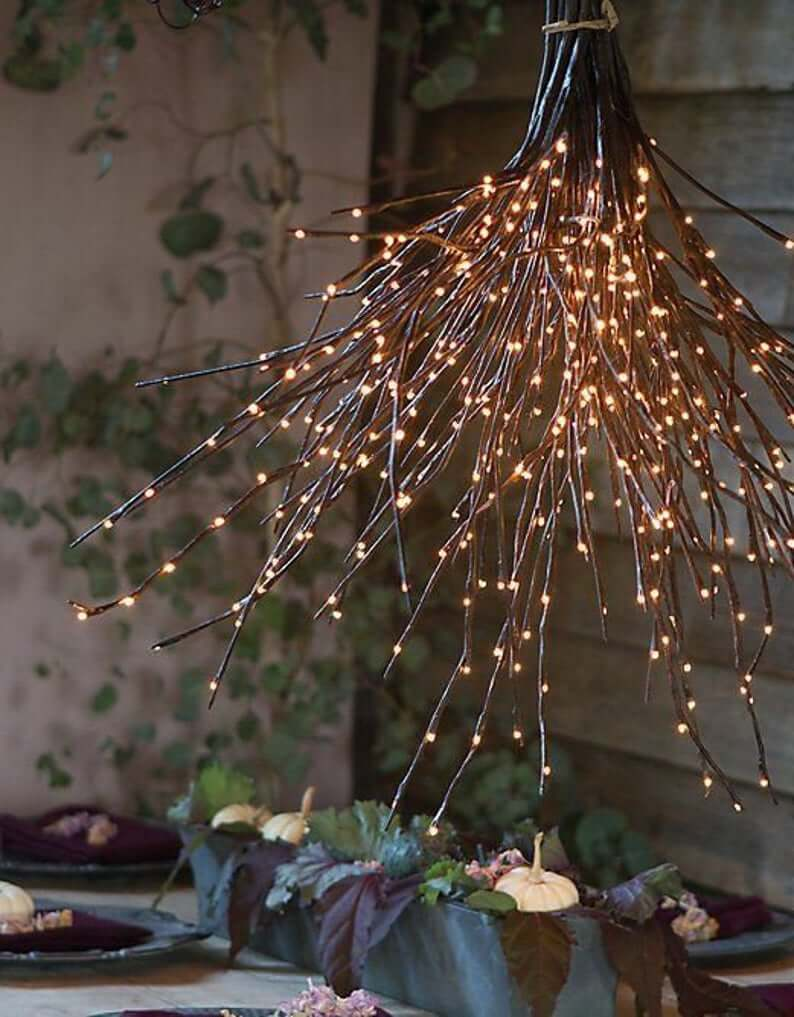 Fairy Light Centerpiece with Lighted Twigs