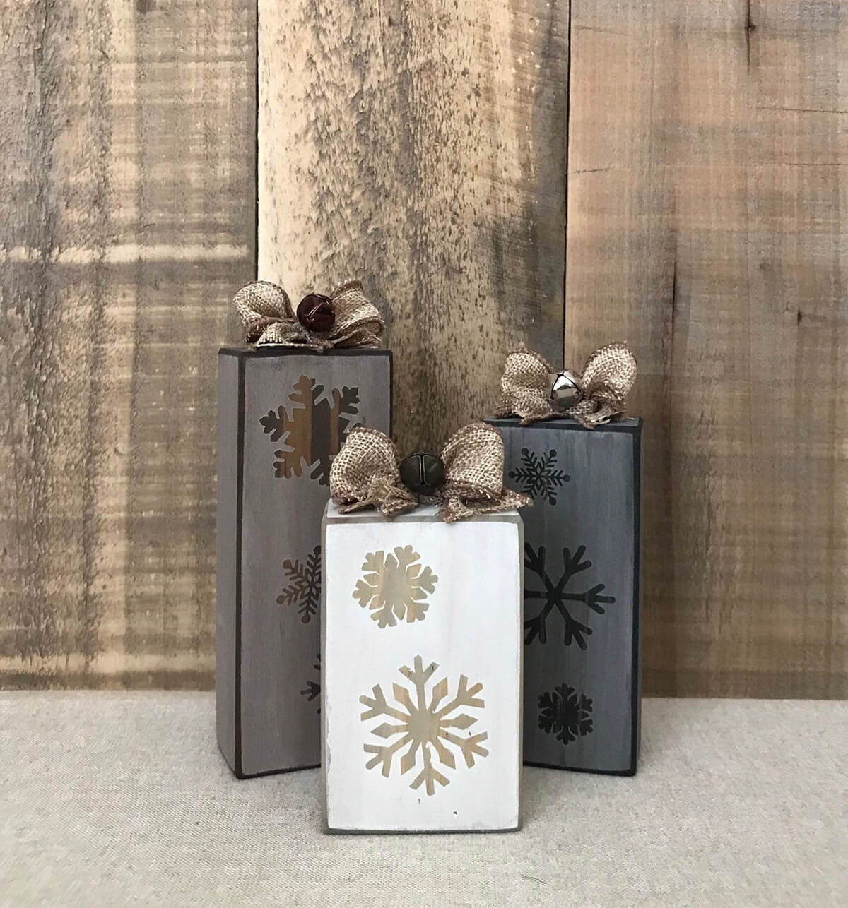 Farmhouse-style Wooden Christmas Presents, Set of 3