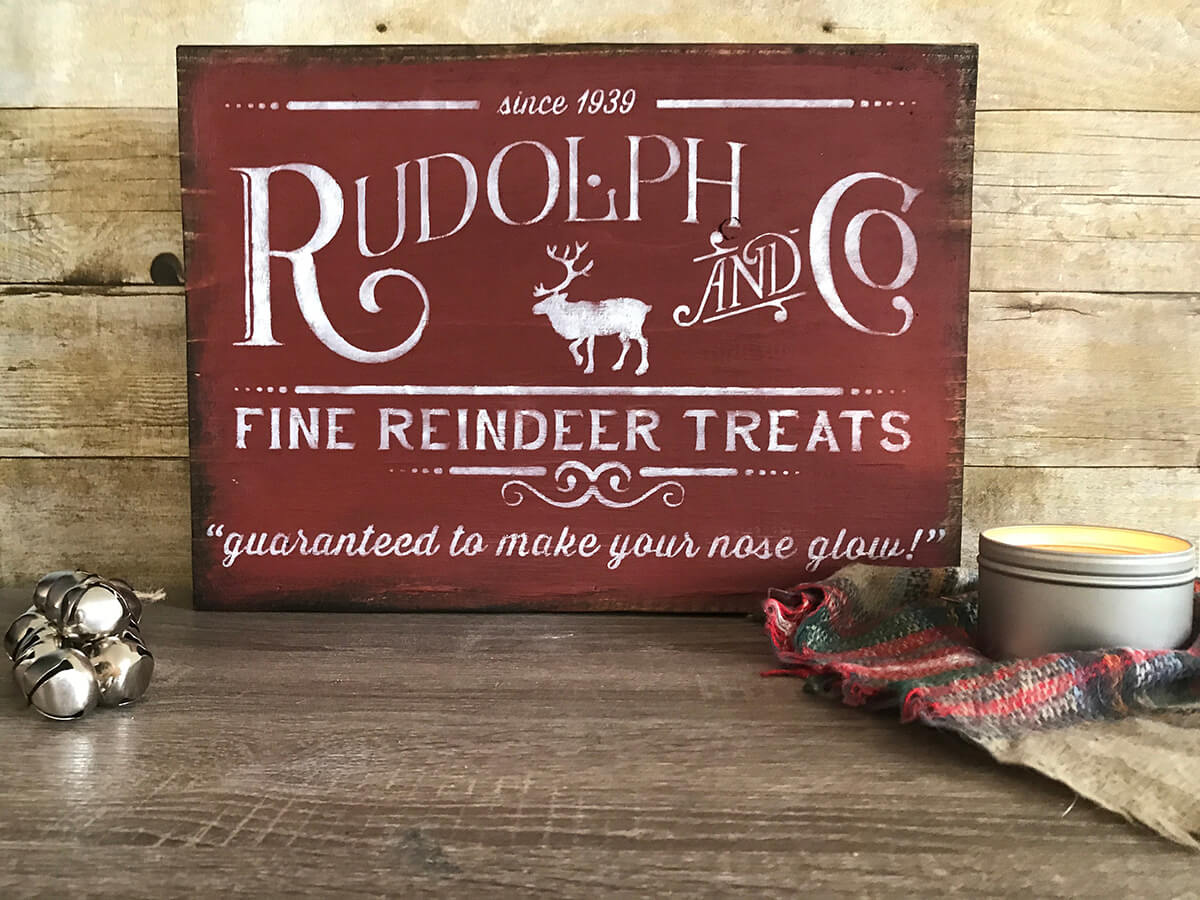 Rustic Reindeer Holiday Sign Decoration