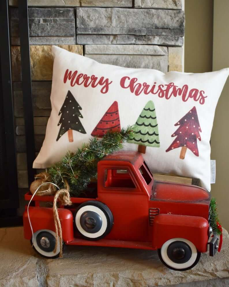 Merry Christmas Mini Trees Cozy Holiday Pillow