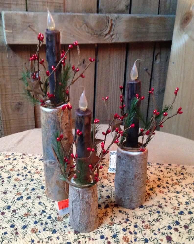 Rustic Twig Candle Holder Set