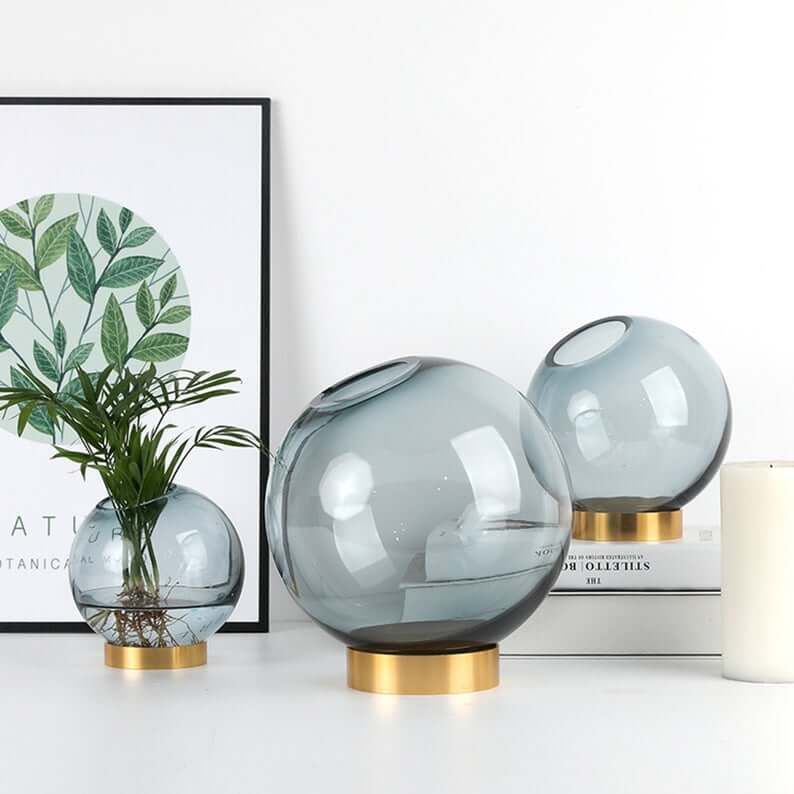 Gold and Glass Terrarium Open Orb