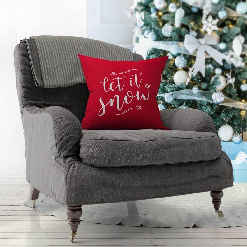 Bold Red Let It Snow Christmas Pillow