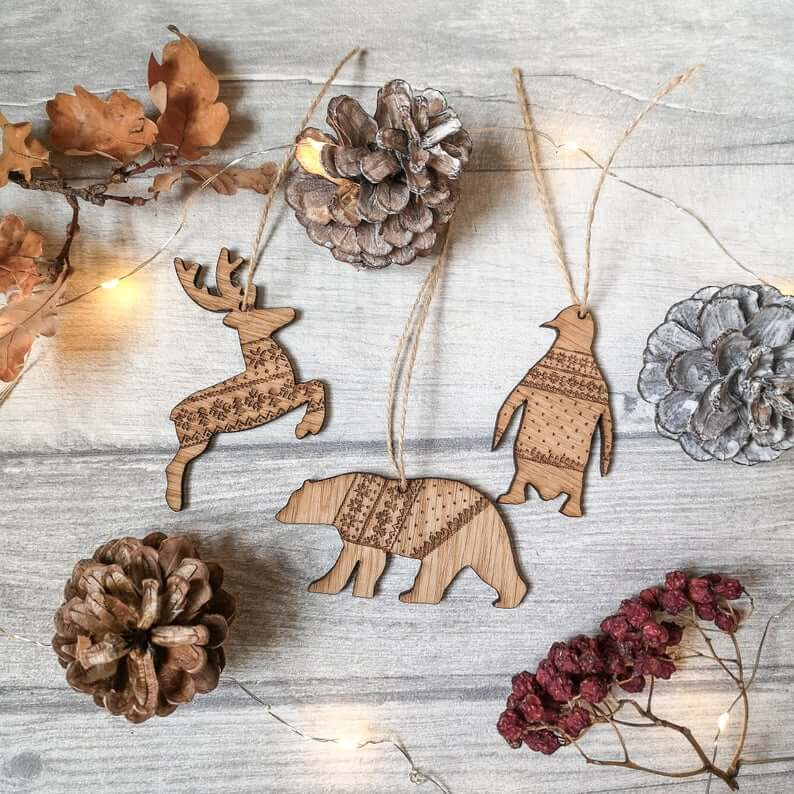 Wooden Nordic Sweater Animal Ornament