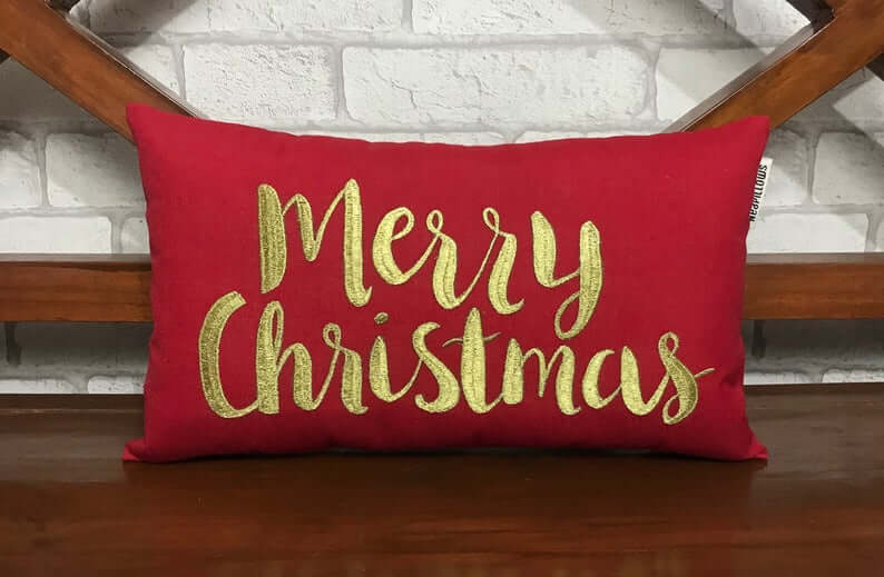 Rich Red and Embroidered Gold Merry Christmas Pillow