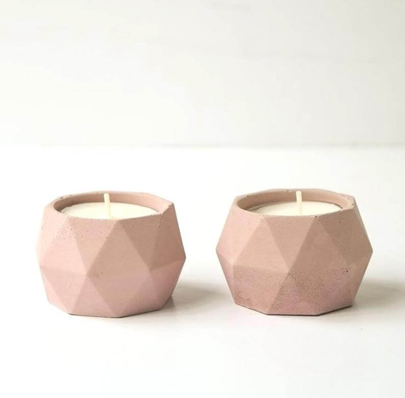 Off-white Modern Geometric Inspired Triangular Votive Holders