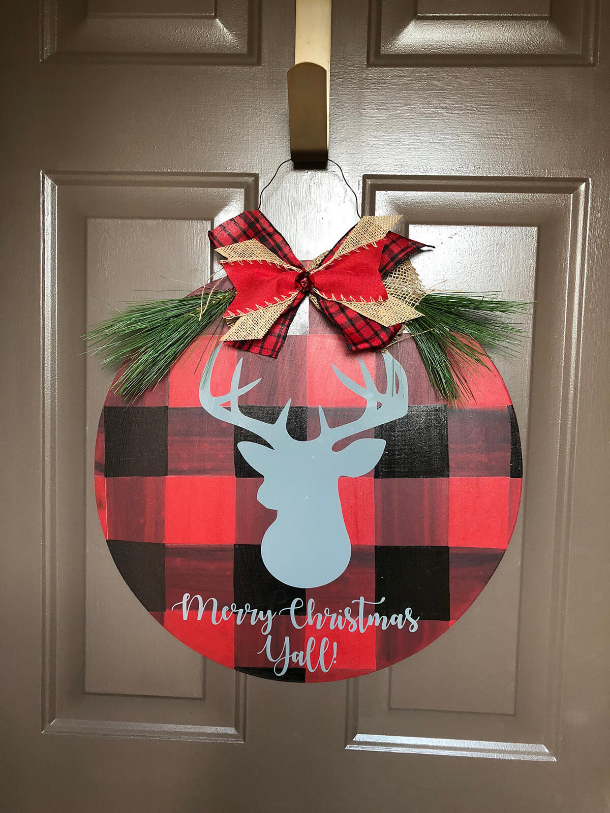 Buffalo Plaid Reindeer Door Hanger for the Holidays