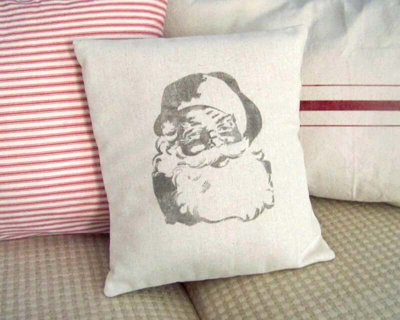 Jolly Old Saint Nicholas Vintage White Pillow