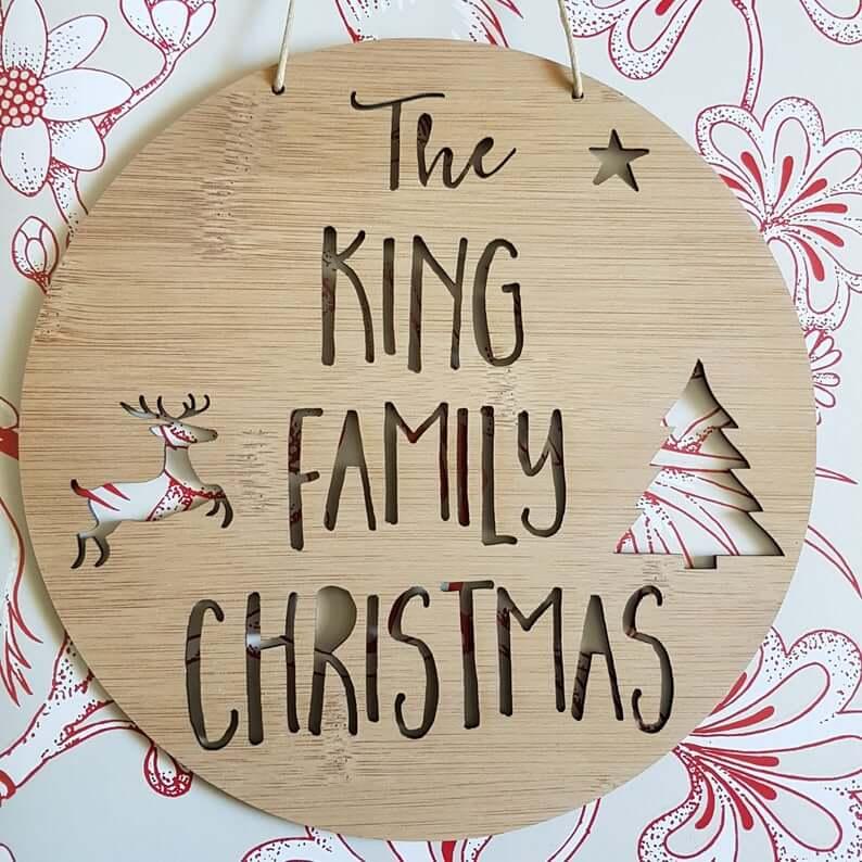 Family Christmas Wooden Design Front Door Plaque