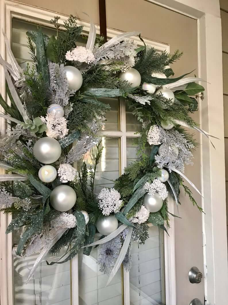 Bauble and Feather Pine Wreath