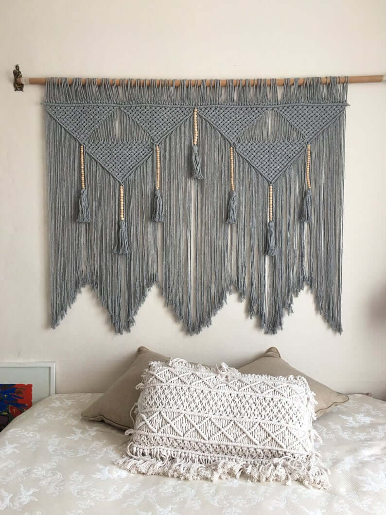 Midnight Gray Macrame Wall Hanger with Tassels