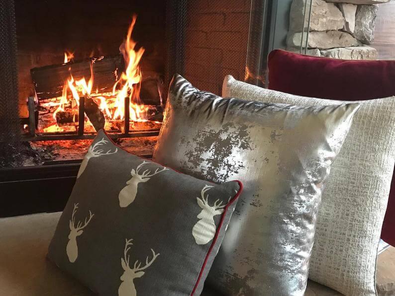 Silver Stag Throw Pillow Set