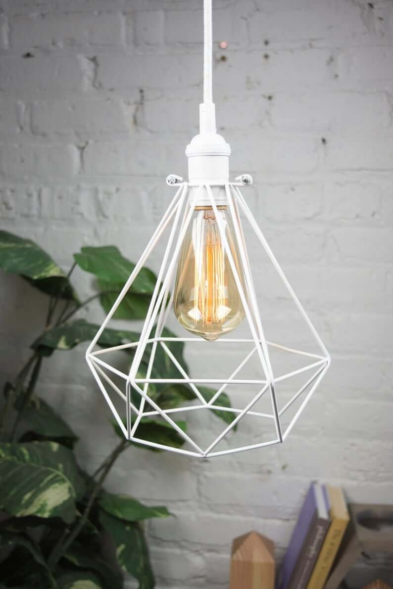 Dangling Diamond White Metal Pendant Accent Light