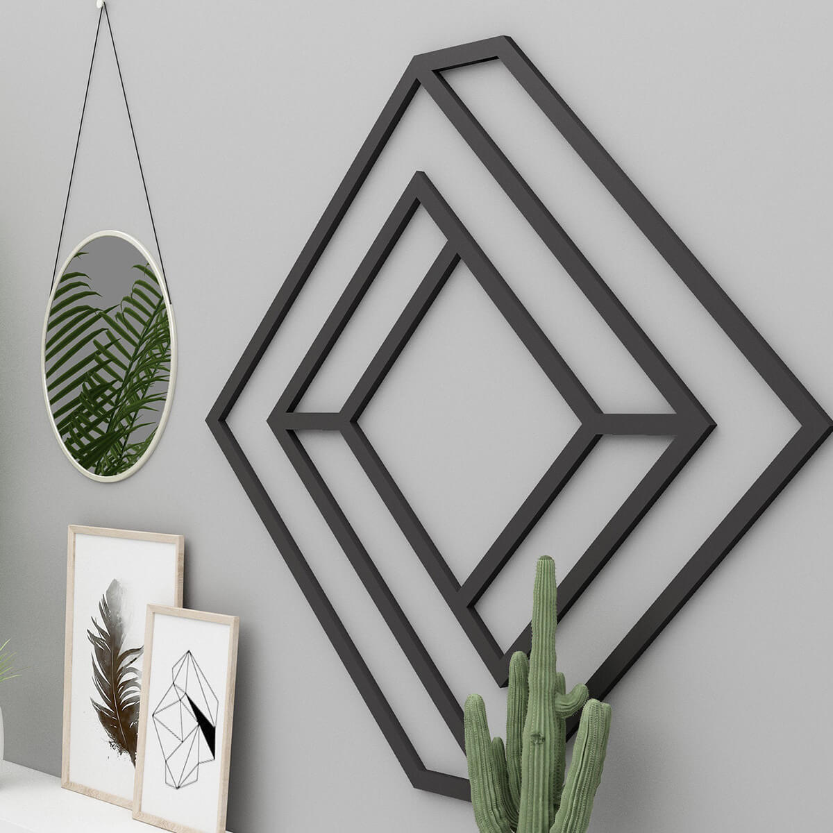 Black Rhombus Maze Focal Wall Art