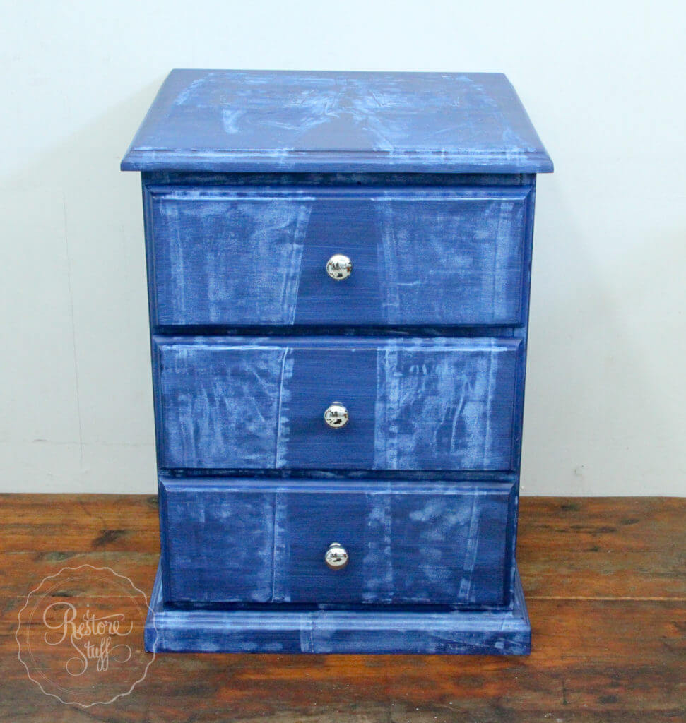 Creating a Painted Faux Vintage Denim Bedside Table