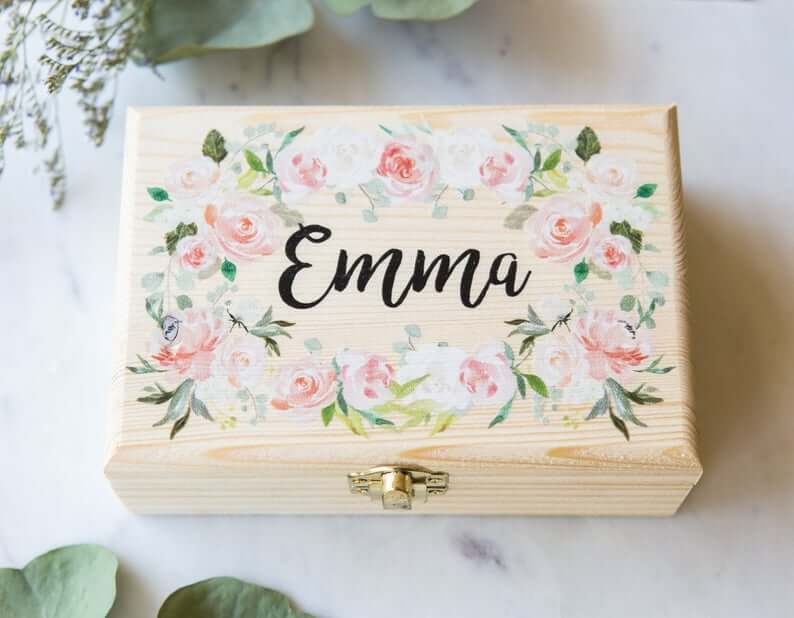 Personalized Wooden Jewelry Chest with Trendy Floral Print