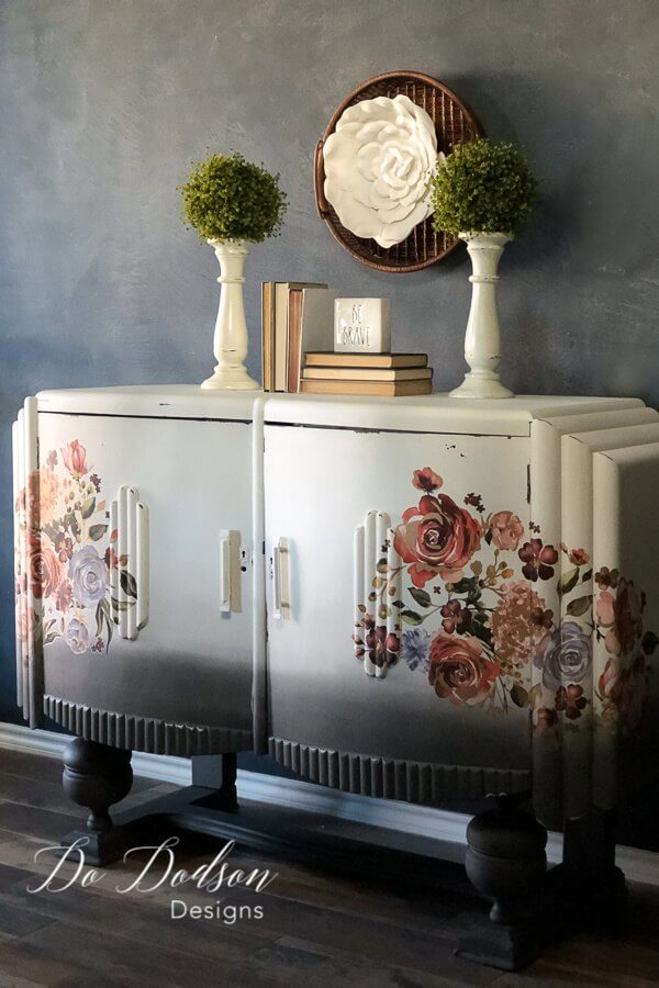 Old Fashioned Ombre Painted Floral Transfer Furniture