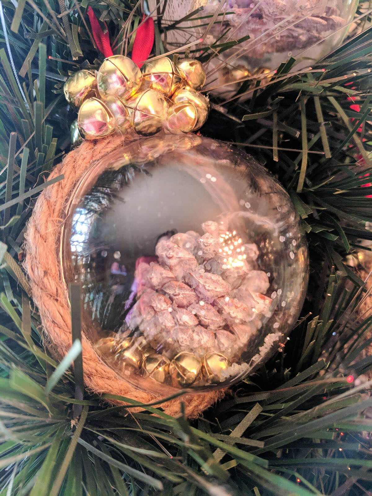 Pretty Pinecone and Jingle Bells Ornament