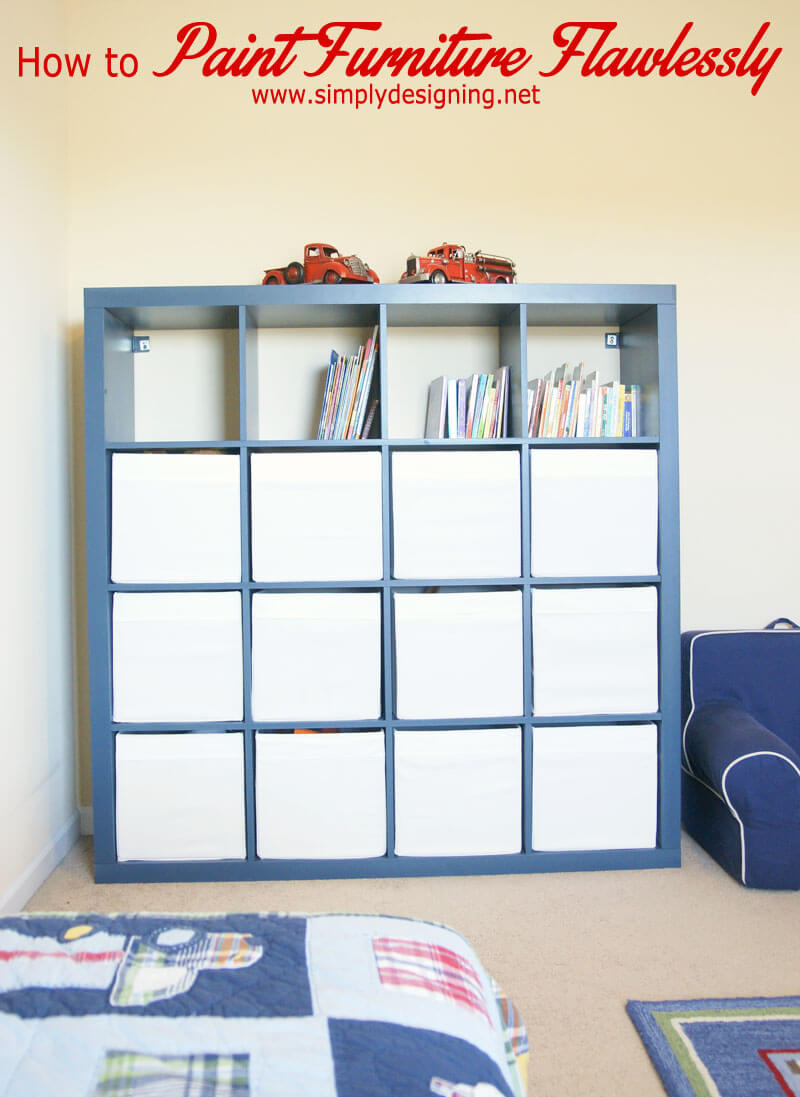 A Blue Painted Bookcase for Kids Bedroom Organization