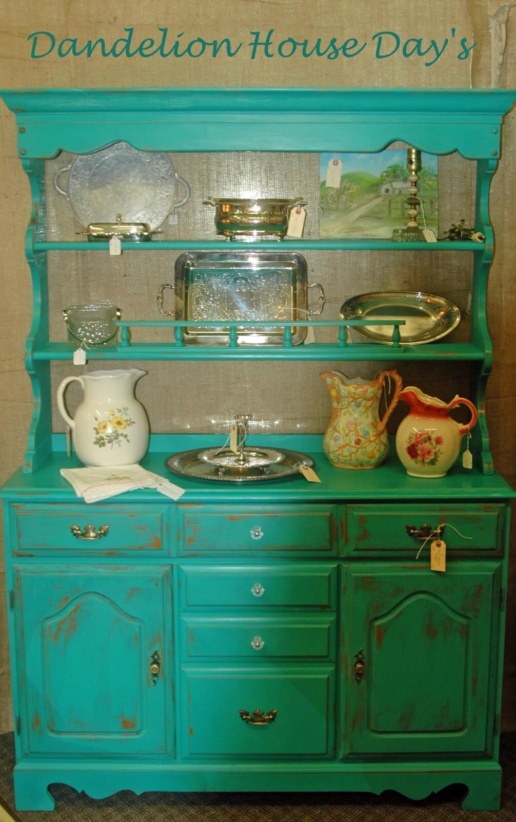 A Florence Blue Vintage Hutch and Buffet Paint Project