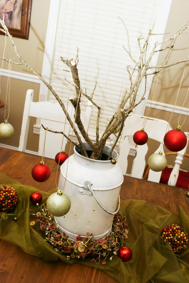 Petite Milk Can Holiday Centerpieces