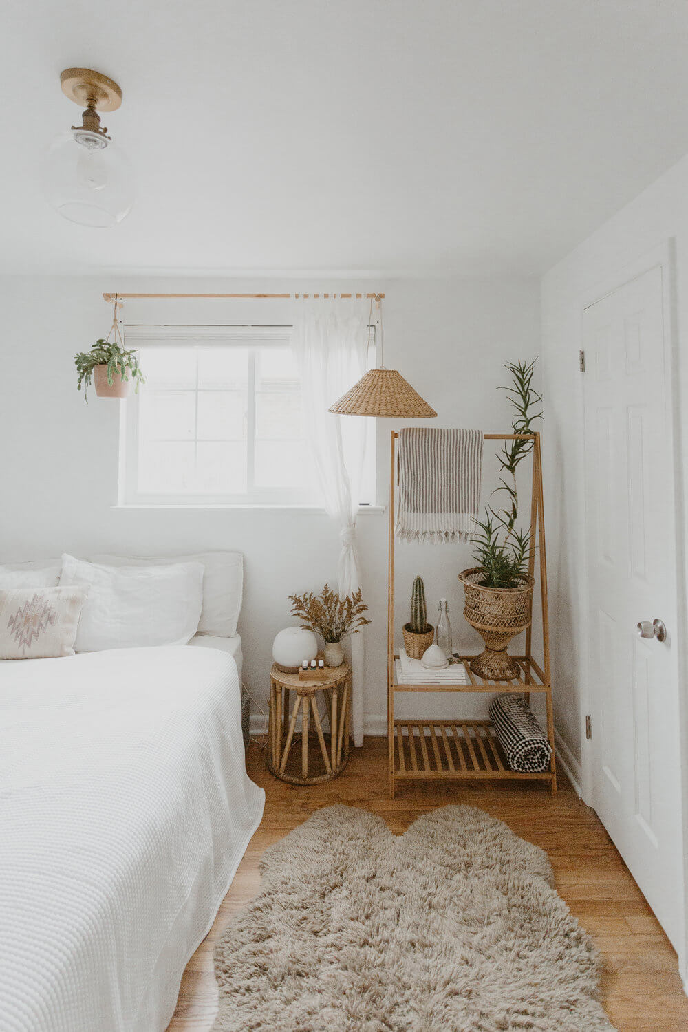 Clean White with Natural Fibers, Wood and Plants
