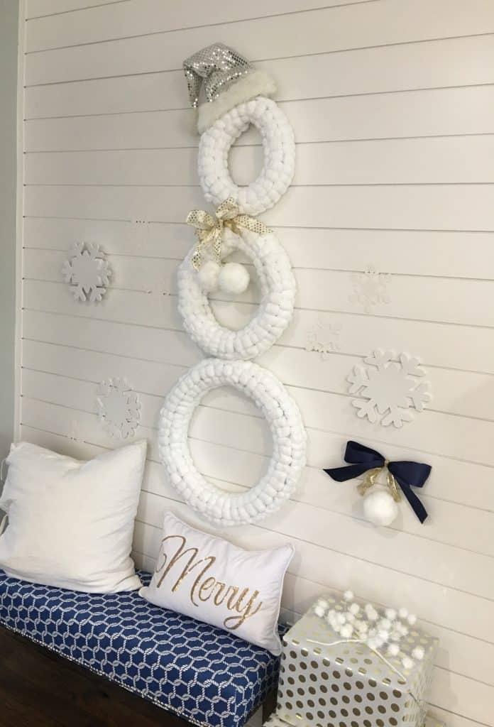 Festive Cotton Wreath Snow Man Decoration
