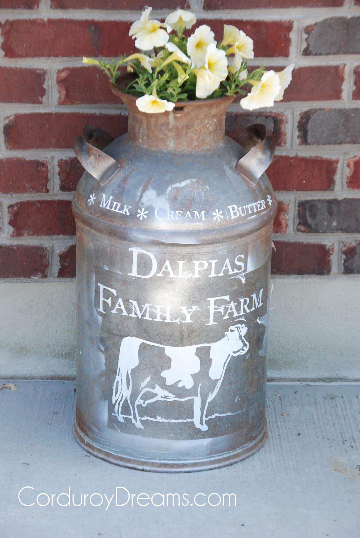Personalized Adorable Milk Can Flower Planter