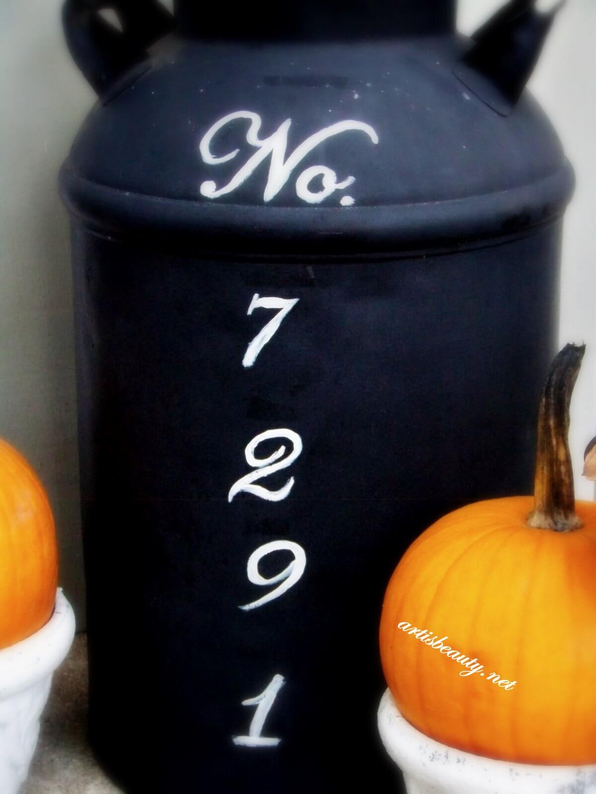 Outdoor House Numbers Painted Milk Can