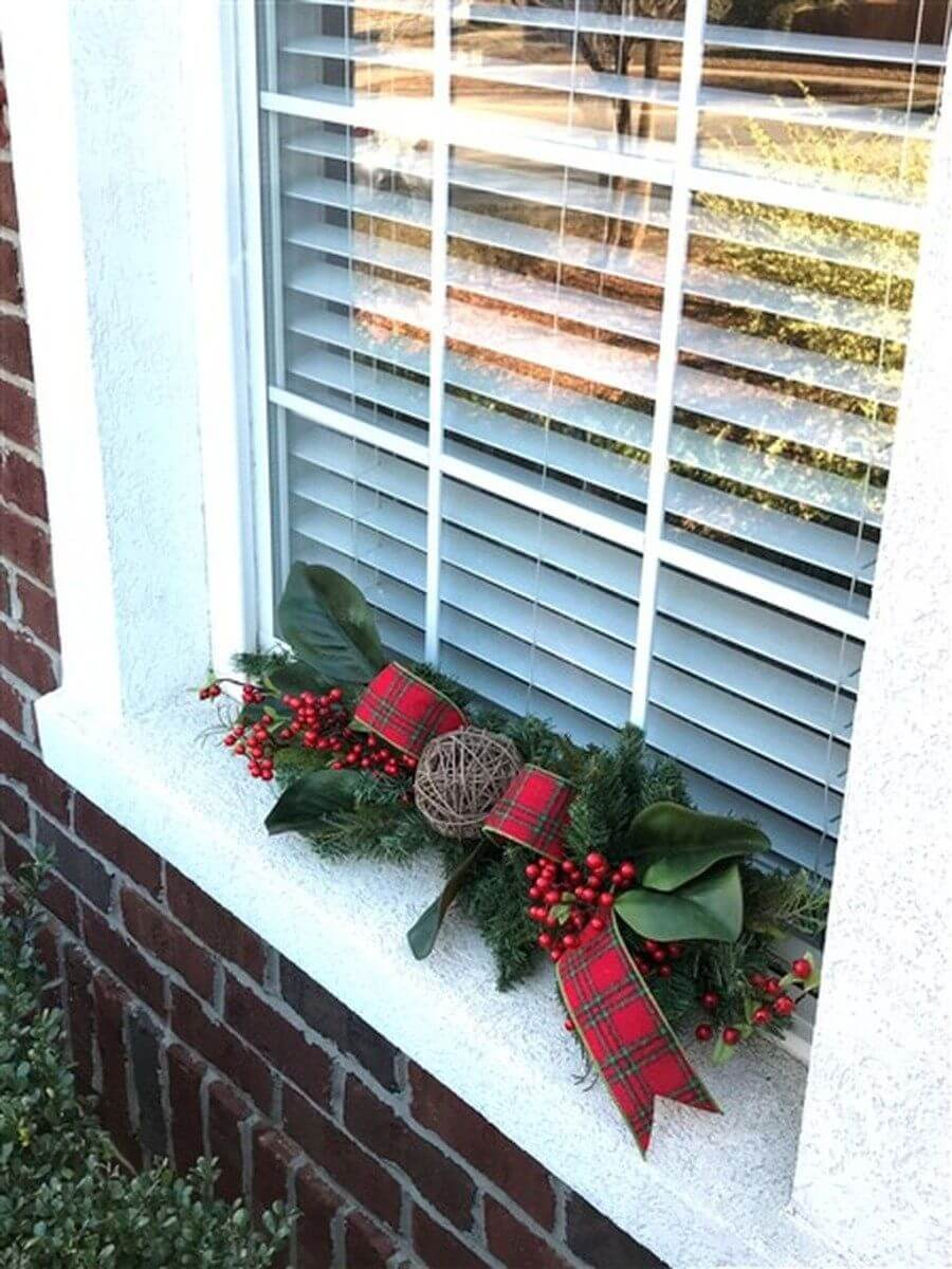 Poinsetta and Plaid Christmas Window Decoration