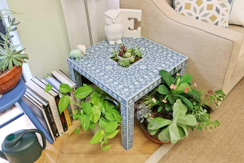 Cute Upcycled IKEA Lack Table Using Inlay Stencils