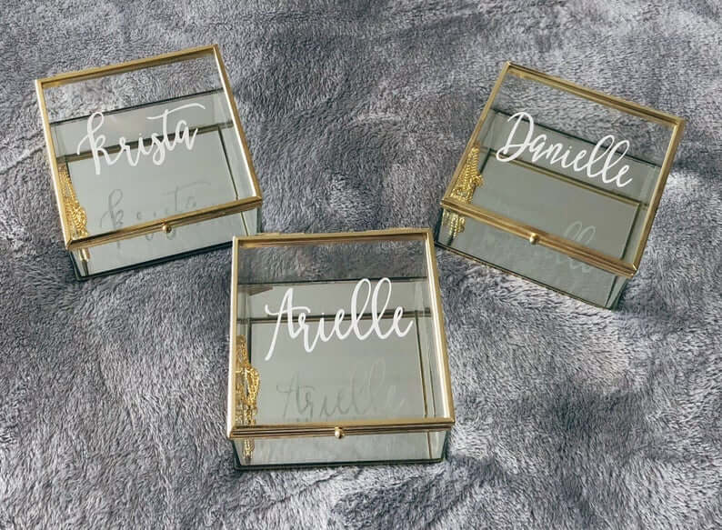 Personalized Glass Jewelry Box with Gold Detailing