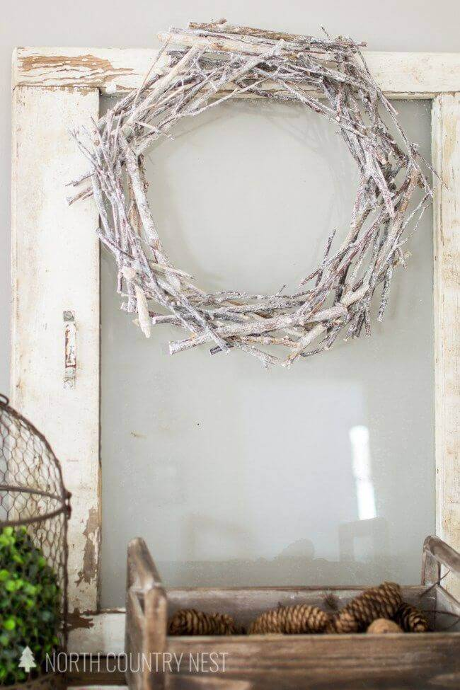 Natural Winter Wreath Made of Snowy Branches
