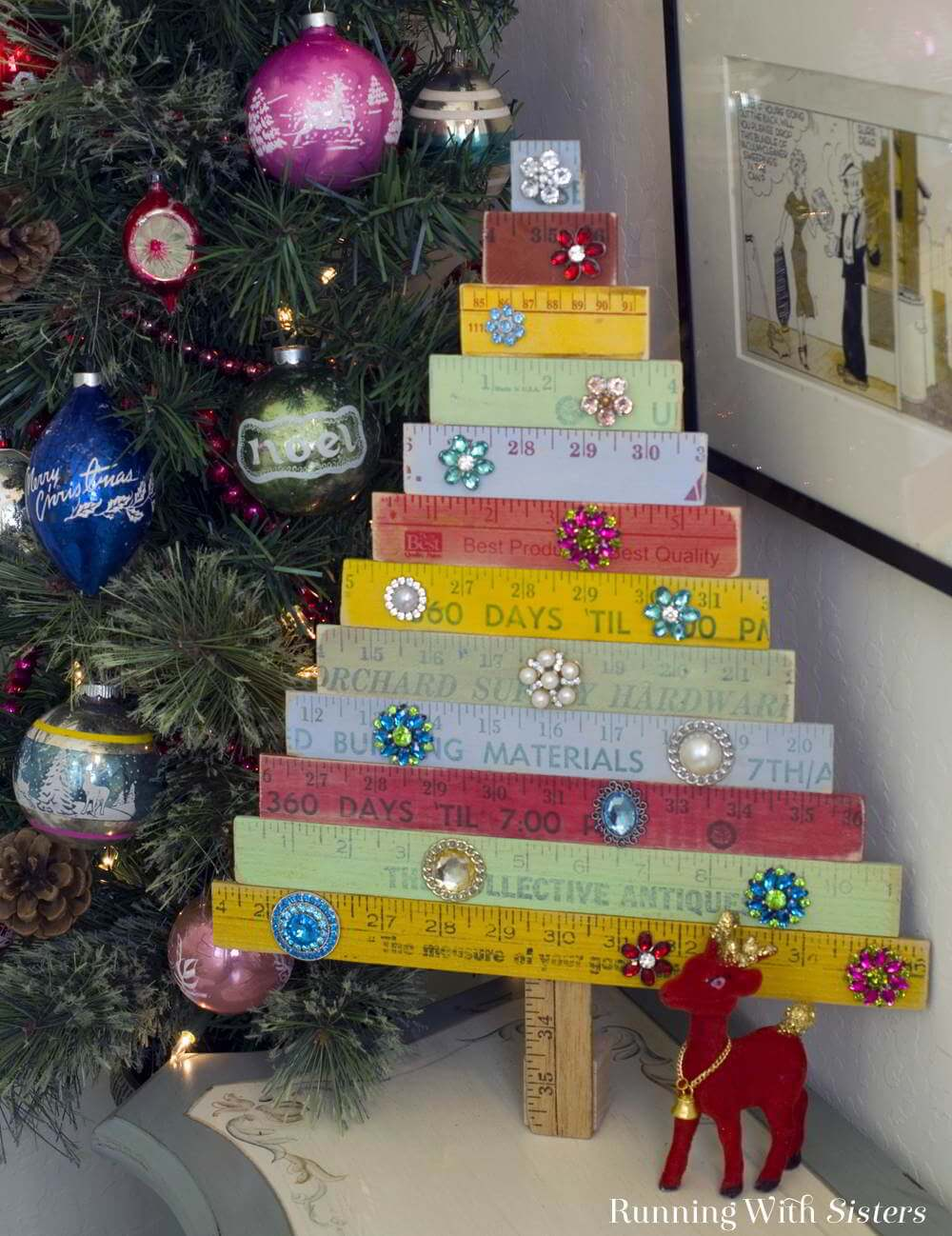 Colorfully Painted Vintage Yardstick Tree
