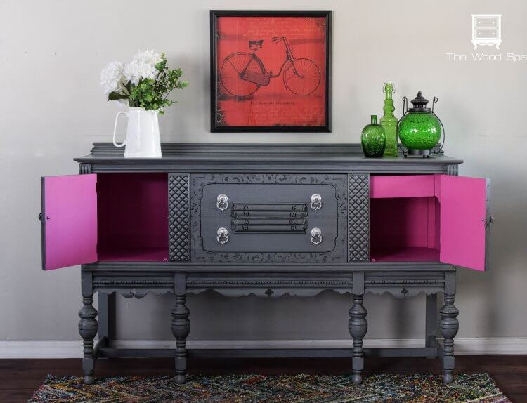 A Gorgeous Gray and Pink Buffet Transformation