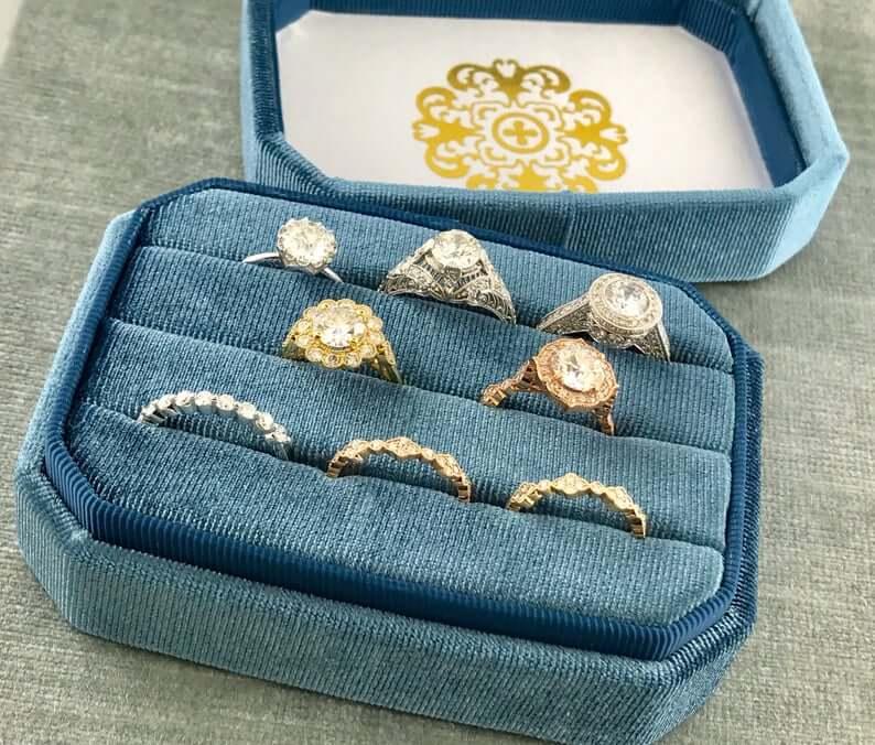 Gorgeous Velvet Ring Box in Vintage Colors