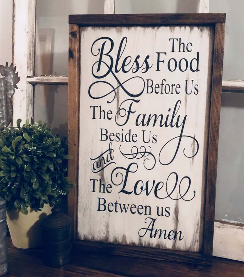 "Rustic ""Bless The Food Before Us"" Sign"